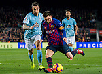 Lionel Andres Messi of FC Barcelona (R) fights for the ball with Hugo Mallo Novegil of RC Celta de Vigo during the La Liga 2018-19 match between FC Barcelona and RC Celta de Vigo at Camp Nou on 22 December 2018 in Barcelona, Spain. Photo by Vicens Gimenez / Power Sport Images