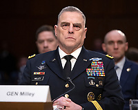 """United States Army General Mark A. Milley, Chief of Staff of the Army testifies before the US Senate Committee on Armed Services during a hearing on """"Chain of Command's Accountability to Provide Safe Military Housing and Other Building Infrastructure to Service members and Their Families"""" on Capitol Hill in Washington, DC on Thursday, March 7, 2019.<br /> Credit: Ron Sachs / CNP/AdMedia"""