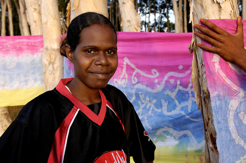 Winnie Yunkaporta, fabric artist, Wanem Clan group, Aurukun, Cape York Peninsula.