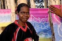 Winnie Yunkaporta, fabric artist, Wanem Clan group, Aurukun, Cape York Peninsula.