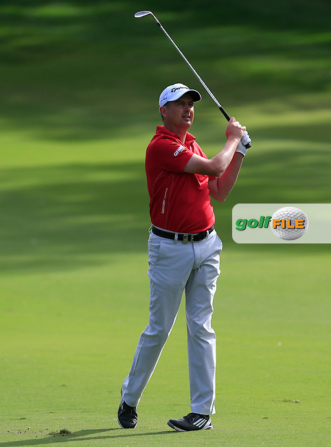 Peter Lawrie (IRL) on the 1st during Round 1 of the ISPS HANDA Perth International at the Lake Karrinyup Country Club on Thursday 23rd October 2014.<br /> Picture:  Thos Caffrey / www.golffile.ie