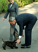 Washington, D.C. - May 10, 2005 -- United States President George W. Bush and first lady Laura Bush are greeted by one of their two dogs upon their arrival back at the White House in Washington, D.C. on May 10, 2005 after traveling in Europe and Russia.<br /> Credit: Jay L. Clendenin - Pool via CNP