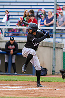 Quad Cities River Bandits second baseman Jonathan Arauz (2) at bat during a Midwest League game against the Beloit Snappers on May 20, 2018 at Pohlman Field in Beloit, Wisconsin. Beloit defeated Quad Cities 3-2. (Brad Krause/Four Seam Images)