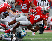 Ohio State Buckeyes wide receiver K.J. Hill (14) is tackled in the first quarter of their game at Ohio Stadium in Columbus, Ohio on September 22, 2018. [ Brooke LaValley / Dispatch ]