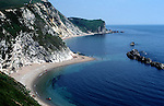 Chalk cliffs and landforms of coastal erosion at Man O War Bay, near Lulworth Cove, Dorset, England, UK