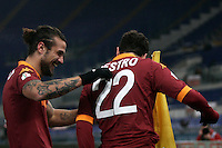 Calcio, ottavi di finale di Coppa Italia: Roma vs Atalanta. Roma, stadio Olimpico, 11 dicembre 2012..AS Roma forward Mattia Destro celebrates with teammate Pablo Daniel Osvaldo, left, after scoring during their Italy Cup last-16 tie football match between AS Roma and Atalanta at Rome's Olympic stadium, 11 december 2012. .UPDATE IMAGES PRESS/Riccardo De Luca