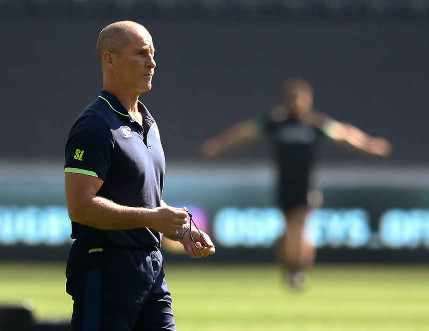 Leinster Coach Stuart Lancaster during the pre match warm up<br /> <br /> Photographer Simon King/CameraSport<br /> <br /> Guinness PRO12 Round 19 - Ospreys v Leinster Rugby - Saturday 8th April 2017 - Liberty Stadium - Swansea<br /> <br /> World Copyright &copy; 2017 CameraSport. All rights reserved. 43 Linden Ave. Countesthorpe. Leicester. England. LE8 5PG - Tel: +44 (0) 116 277 4147 - admin@camerasport.com - www.camerasport.com