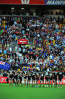 The NZ team line up before kickoff in the cup final against South Africa on day two of the 2016 HSBC Wellington Sevens at Westpac Stadium, Wellington, New Zealand on Sunday, 31 January 2016. Photo: Dave Lintott / lintottphoto.co.nz