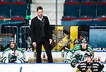 Stockholm 2014-03-21 Ishockey Kvalserien AIK - R&ouml;gle BK :  <br /> R&ouml;gles m&aring;lvaktstr&auml;nare och videocoach Magnus Wennstr&ouml;m i b&aring;set under matchen<br /> (Foto: Kenta J&ouml;nsson) Nyckelord:  portr&auml;tt portrait tr&auml;nare manager coach