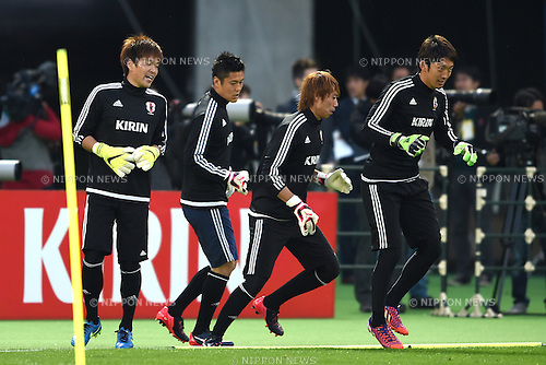 Japan team group (JPN),<br /> MARCH 30, 2015 - Football / Soccer : <br /> Japan training session <br /> at Tokyo Stadium in Tokyo, Japan. <br /> (Photo by AFLO SPORT)