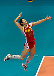 22 August 2010, Hong Kong, China ---  China's Chen Liyi serves against USA during their volleyball game on the last day of the FIVB World Grand Prix Pool G at the Hong Kong Coliseum stadium. Photo by Victor Fraile --- Image by © Victor Fraile
