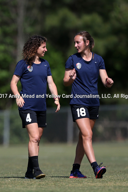 CARY, NC - APRIL 20: Elizabeth Eddy (4) and Claire Wagner (18). The North Carolina Courage held a training session on April 20, 2017, at WakeMed Soccer Park Field 7 in Cary, NC.