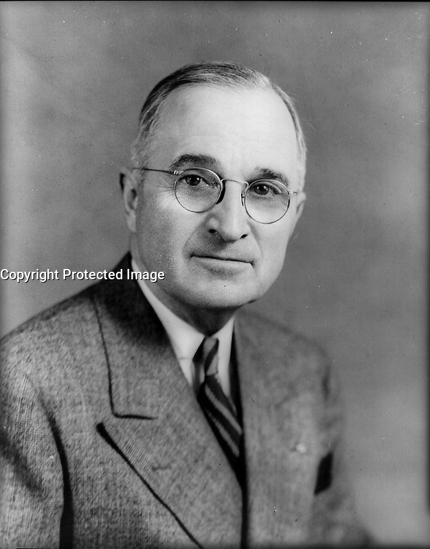 Harry Truman, 1945.<br /> <br /> Credit: Library of Congress
