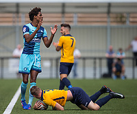 Sido Jombati of Wycombe Wanderers looks to the Referee as George Wells of Slough Town goes down injured during the pre season friendly match between Slough Town and Wycombe Wanderers at Arbour Park Stadium, Slough, England on 8 July 2017. Photo by Andy Rowland.
