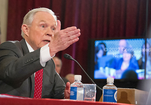 United States Senator Jeff Sessions (Republican of Alabama) answers US Senator Amy Klobuchar's (Democrat of Minnesota) questions as he testifies during the US Senate Judiciary Committee confirmation hearing on his nomination to be Attorney General of the United States on Capitol Hill in Washington, DC on Tuesday, January 10, 2017.<br /> Credit: Ron Sachs / CNP