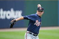 Gwinnett Braves starting pitcher Greg Smith (51) warms up in the outfield prior to the game against the Charlotte Knights at BB&T BallPark on July 3, 2015 in Charlotte, North Carolina.  The Braves defeated the Knights 11-4 in game one of a day-night double header.  (Brian Westerholt/Four Seam Images)