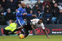 Peterborough United's Anthony Grant is sent flying after a challenge from Gillingham's Josh Parker during Gillingham vs Peterborough United, Sky Bet EFL League 1 Football at the MEMS Priestfield Stadium on 10th February 2018