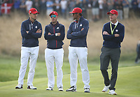 Jim Furyk (Team USA Captain) with watching players during Sunday's Singles, at the Ryder Cup, Le Golf National, Île-de-France, France. 30/09/2018.<br /> Picture David Lloyd / Golffile.ie<br /> <br /> All photo usage must carry mandatory copyright credit (© Golffile | David Lloyd)