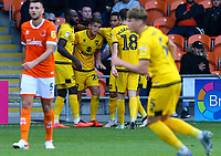 Milton Keynes Dons' Jordan Houghton celebrates scoring his side's second goal with teammates<br /> <br /> Photographer Alex Dodd/CameraSport<br /> <br /> The EFL Sky Bet League One - Blackpool v MK Dons  - Saturday September 14th 2019 - Bloomfield Road - Blackpool<br /> <br /> World Copyright © 2019 CameraSport. All rights reserved. 43 Linden Ave. Countesthorpe. Leicester. England. LE8 5PG - Tel: +44 (0) 116 277 4147 - admin@camerasport.com - www.camerasport.com