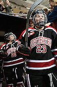 Chelsey Goldberg (NU - 24), Hayley Masters (NU - 23) - The Boston College Eagles defeated the Northeastern University Huskies 3-0 on Tuesday, February 11, 2014, to win the 2014 Beanpot championship at Kelley Rink in Conte Forum in Chestnut Hill, Massachusetts.