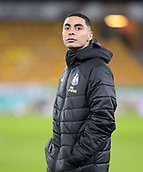 11th February 2019, Molineux, Wolverhampton, England; EPL Premier League football, Wolverhampton Wanderers versus Newcastle United; Newcastle United new signing Miguel Almiron inspecting the pitch before the match