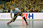 Leipzig, Germany, February 08: Thilo Strahlkowski #26 of Germany scores a penalty during the men bronze medal match between Germany (white) and Iran (red) on February 8, 2015 at the FIH Indoor Hockey World Cup at Arena Leipzig in Leipzig, Germany. Final score 13-2. (Photo by Dirk Markgraf / www.265-images.com) *** Local caption ***