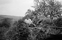 ROMANIA / Maramures / Poienile Izei / September 2002..A young couple on their way home with a haystack...© Davin Ellicson / Anzenberger..