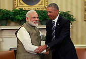 United States President Barack Obama meets Prime Minister Narendra Modi of India in the Oval Office of the White House in Washington, DC on June 7, 2016.  During their meeting the leaders discussed a number of topics including cybersecurity, climate change, and economic cooperation.<br /> Credit: Dennis Brack / Pool via CNP