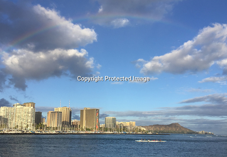 Scence on Magic Island looking back to Diamond Head and Waikiki Beach, Honolulu, HI.