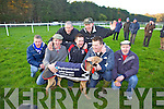 Celebrating their win with 'Go Home Hare' were the Glin Syndicate who won the The Boylesports Derby at the National Coursing Meeting in Clonmel on Wednesday, pictured l-r: Mike Sheehy, Sean Woods, Johnny Costello, Paddy Fitzgerald, Thomas Sheehy, John Paul Fitzgerald and James Heinz.