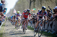 Greg Van Avermaet (BEL/BMC) coming out of sector 18: Trouée d'Arenberg - Wallers Forest (2.4km) right benind John Degenkolb (DEU/Giant-Alpecin)<br /> <br /> 113th Paris-Roubaix 2015