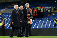Former Chief Executive of Manchester United, David Gill, chats with Bobby Charlton as they walk across the Stamford Bridge pitch during Chelsea vs Manchester United, Premier League Football at Stamford Bridge on 5th November 2017