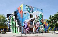 Nederland Amsterdam - 2019.   Amsterdam Heesterveld. Oude flats in Zuidoost zijn kleurig beschilderd door kunstenaars. Foto Berlinda van Dam / Hollandse hoogte