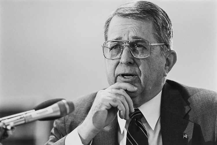 Close-up of Rep. Gerald B. H. Solomon, R-N.Y., in May 1993. (Photo by Laura Patterson/CQ Roll Call)