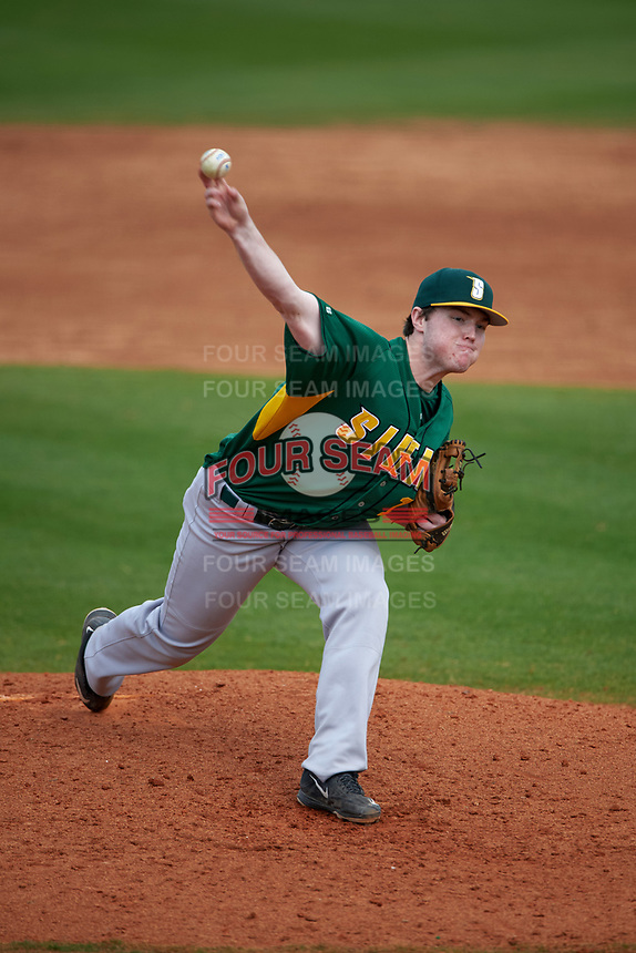 Siena Saints relief pitcher Brian Kelly (14) delivers a pitch during a game against the UCF Knights on February 21, 2016 at Jay Bergman Field in Orlando, Florida.  UCF defeated Siena 11-2.  (Mike Janes/Four Seam Images)
