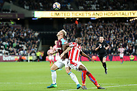Marko Arnautovic of West Ham United and Bruno Martins Indi of Stoke City during West Ham United vs Stoke City, Premier League Football at The London Stadium on 16th April 2018
