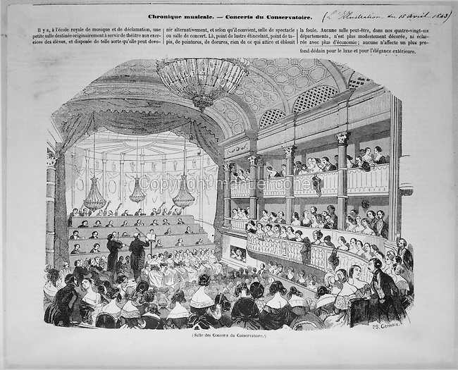 Concert at the concert hall of the Conservatoire de Paris, illustration from the newspaper 'LíIllustration', 15th April 1849. Copyright © Collection Particuliere Tropmi / Manuel Cohen