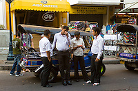 Tuk Tuk Drivers in Bangkok, Thailand. The Bangkok tuk tuk drivers are infamous for their hard bargaining and 'free' tours around all the local shops. They take tourists to tailors, CD shops, souvenir shops, accommodation and travel agencies trying to earn commission on your purchases!