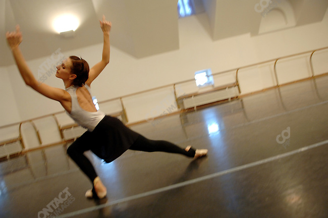 "Soloist Anastasia Yatsenko rehearsed her part in the new ballet ""Misericors' by British choreographer Christopher Wheeldon in a rehearsal room in the Bolshoi Theatre, Moscow, Russia, January 25, 2007"