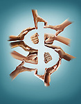 Illustrative image of hands forming dollar sign over blue background