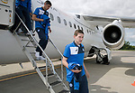 FK Trakai v St Johnstone&hellip;05.07.17&hellip; Europa League 1st Qualifying Round 2nd Leg<br />St Johnstone&rsquo;s Blair Alston steps off the aircraft after landing in Vilnius, Lithuania<br />Picture by Graeme Hart.<br />Copyright Perthshire Picture Agency<br />Tel: 01738 623350  Mobile: 07990 594431
