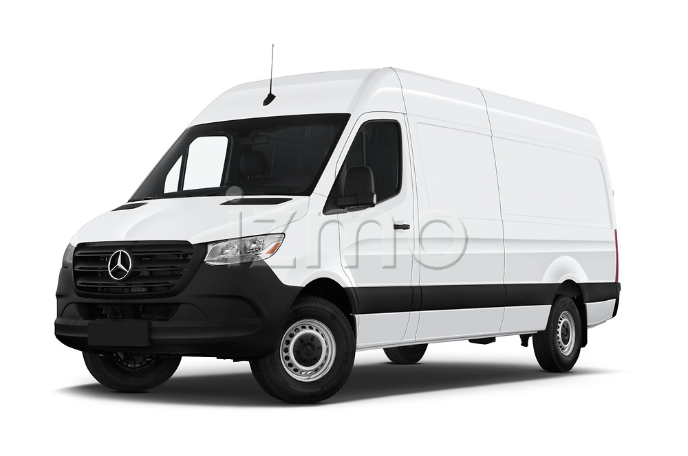 Stock pictures of low aggressive front three quarter view of a 2019 Mercedes Benz Sprinter-Cargo-Van Base 4 Door Cargo Van