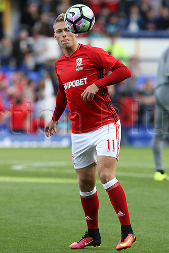 17.09.2016. Goodison Park, Liverpool, England. Premier League Football. Liverpool versus Middlesbrough. Viktor Fischer of Middlesbrough warms up.