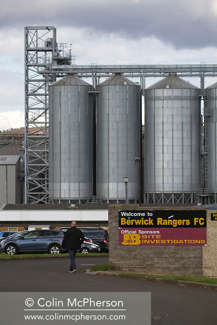 A peculator making their way to Shielfield Park, before the Scottish League Two fixture between Berwick Rangers and East Stirlingshire, with the maltings storage silos visible in the background. The home club occupied a unique position in Scottish football as they are based in Berwick-upon-Tweed, which lies a few miles inside England. Berwick won the match by 5-0, watched by a crowd of 509.