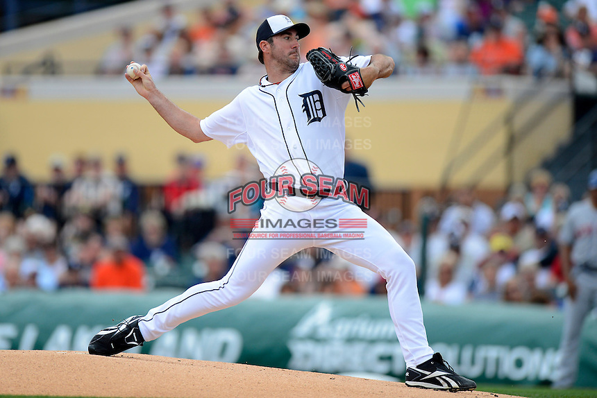 Detroit Tigers pitcher Justin Verlander #35 during a Spring Training game against the New York Mets at Joker Marchant Stadium on March 11, 2013 in Lakeland, Florida.  New York defeated Detroit 11-0.  (Mike Janes/Four Seam Images)