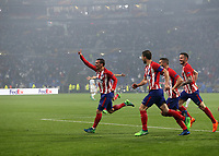 16th May 2018, Stade de Lyon, Lyon, France; Europa League football final, Marseille versus Atletico Madrid; Antoine Griezmann of Atletico Madrid celebrates scoring his sides 2nd goal in the 48th minute to make it 0-2