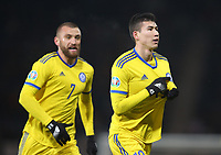 19th November 2019; Hampden Park, Glasgow, Scotland; European Championships 2020 Qualifier, Scotland versus Kazakhstan; Baktiyor Zainutdinov of Kazakhstan celebrates by pointing to the Kazakhstan badge on his jersey after he opens the scoring making it 1-0 to Kazakhstan in the 34th minute - Editorial Use