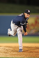 New Hampshire Fisher Cats relief pitcher Danny Farquhar #17 delivers a pitch during a game against the Reading Phillies at FirstEnergy Stadium on April 10, 2012 in Reading, Pennsylvania.  New Hampshire defeated Reading 3-2.  (Mike Janes/Four Seam Images)