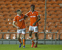 Blackpool's Oliver Turton congratulates team-mate Armand Gnanduillet after the final whistle <br /> <br /> Photographer Stephen White/CameraSport<br /> <br /> The EFL Sky Bet League One - Blackpool v Charlton Athletic - Saturday 8th December 2018 - Bloomfield Road - Blackpool<br /> <br /> World Copyright &copy; 2018 CameraSport. All rights reserved. 43 Linden Ave. Countesthorpe. Leicester. England. LE8 5PG - Tel: +44 (0) 116 277 4147 - admin@camerasport.com - www.camerasport.com