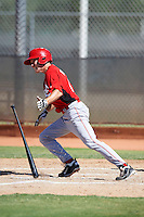 Cincinnati Reds minor league infielder Zachary Vincej #45 during an instructional league game against the Milwaukee Brewers at Maryvale Baseball Park on October 3, 2012 in Phoenix, Arizona.  (Mike Janes/Four Seam Images)